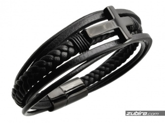 Black leather bracelet with a cross