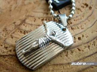 Dog tag with a crucifix