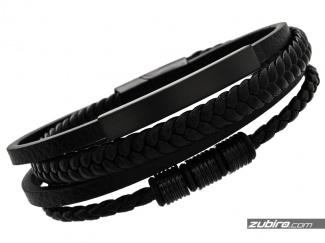 Men's bracelet with black straps for engraving