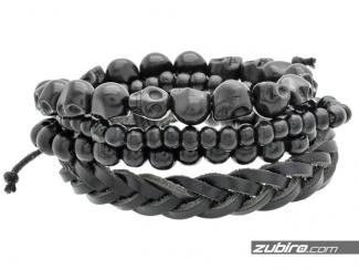Set of black male beads
