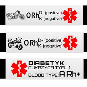 Podgląd grawerów na medycznej bransoletce dla motocyklisty/cukrzyka