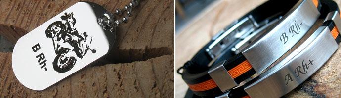 Medyczna męska biżuteria bransoletki i zawieszki