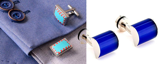 Spinki w kolorze niebieskim do mankietów