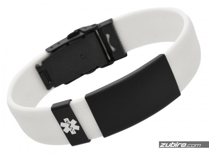 Biała bransoletka medyczna z grawerem indywidualnym