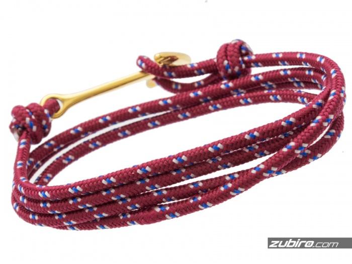 złota kotwica i bordowy sznurek