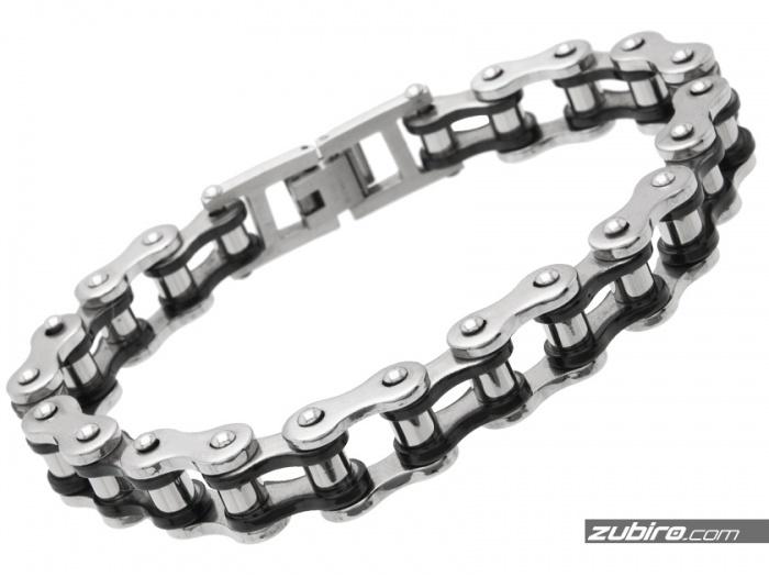 Bransoletka łańcuch rowerowy czarno-stalowy