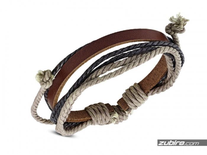 Bransoletka męska z brązowych sznurków
