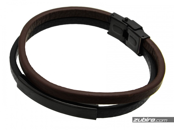 brązowo-czarna bransoletka męska