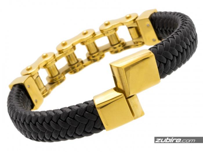 bransoletka dla mężczyzny złota skórzana