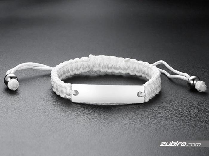 Bransoletka z białego sznurka z możliwością indywidualnego graweru