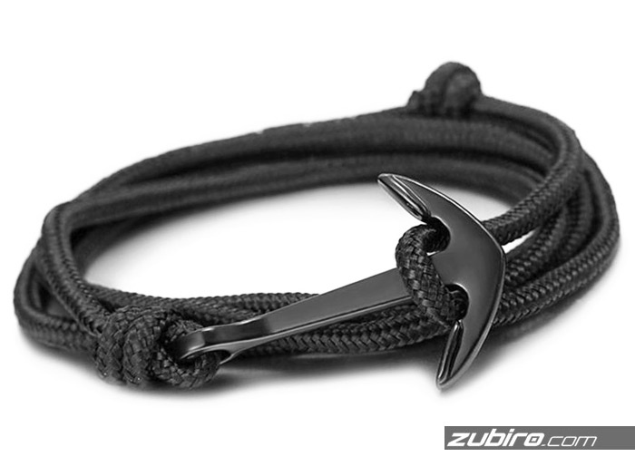 Czarna bransoletka z czarną kotwicą