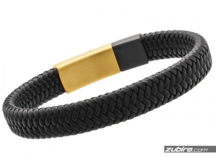 czarno-złota bransoletka skórzana