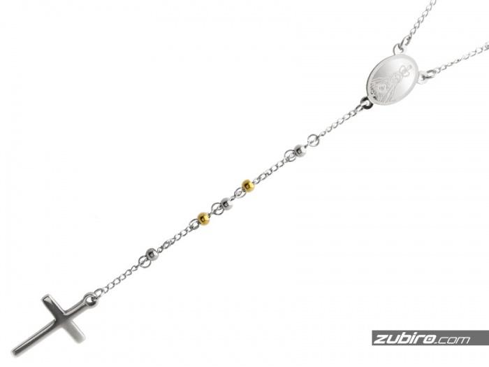 Różaniec złoto-stalowy naszyjnik dla chłopaka