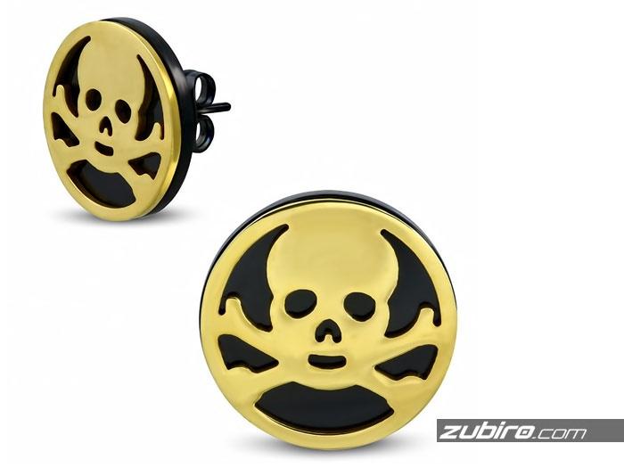 Duże kolczyki złote czaszki