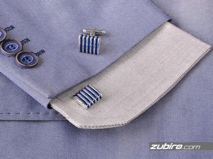 Klasyczne niebieskie srebrne spinki do mankietów