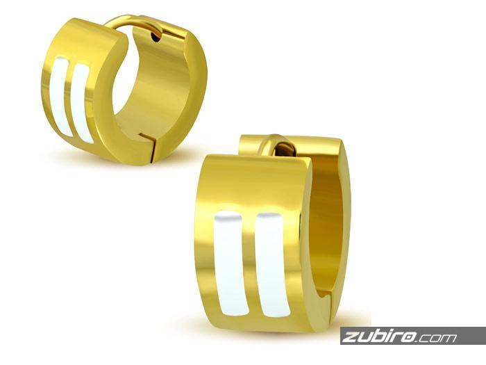 Kolczyki męskie złote z białymi paskami