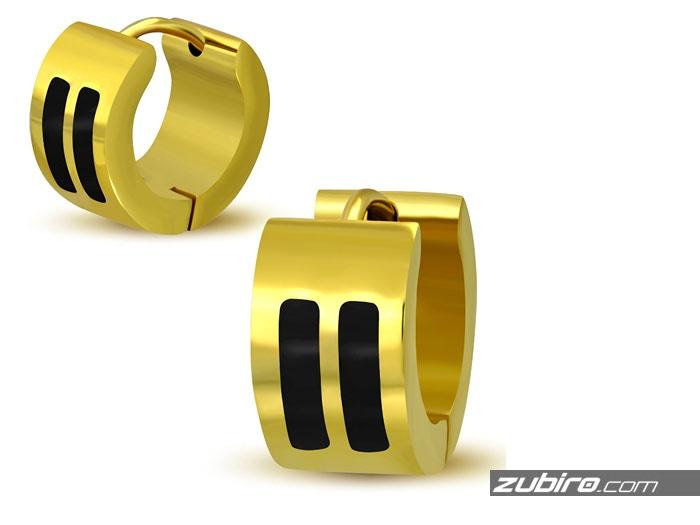 Kolczyki męskie złote z czarnymi paskami