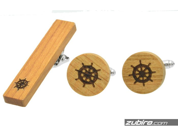 Komplet męski spinki bambus ster