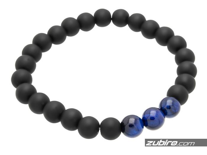koraliki czarne matowe z niebieskimi