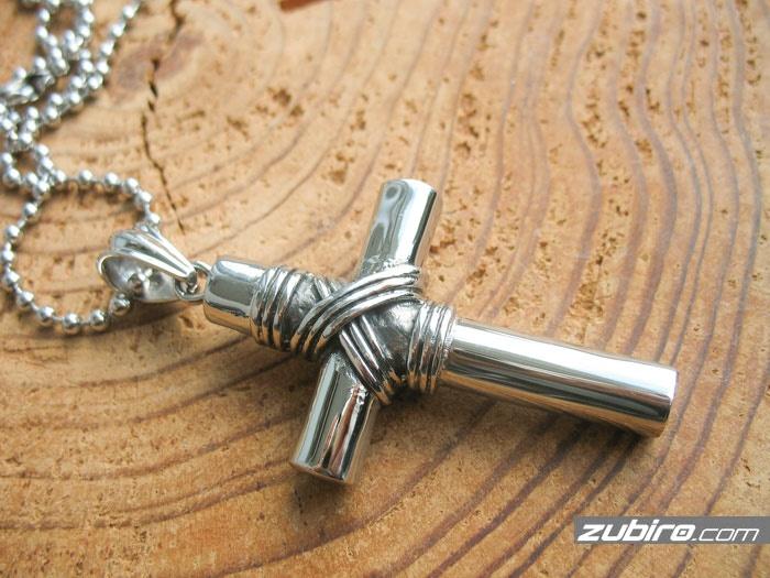 męski krzyż duży naszyjnik