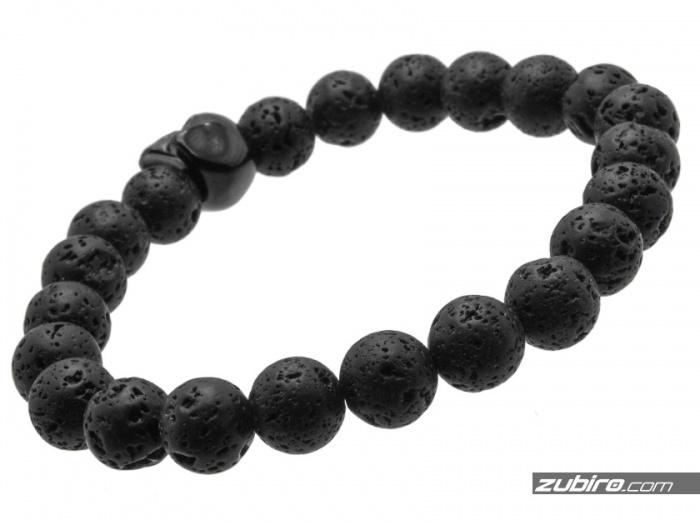 bransoletka z czarną czaszką koraliki