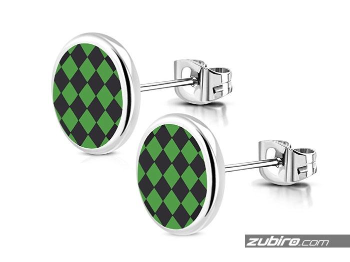 Męskie kolczyki w zieloną kratkę