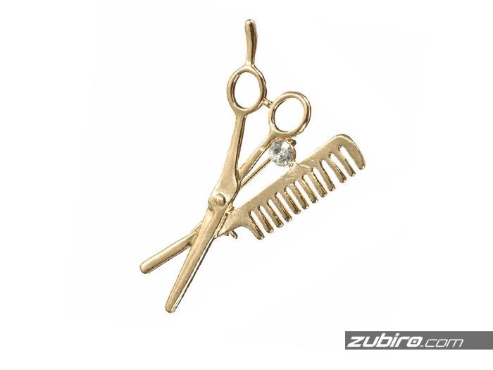 Metalowe nożyczki broszka