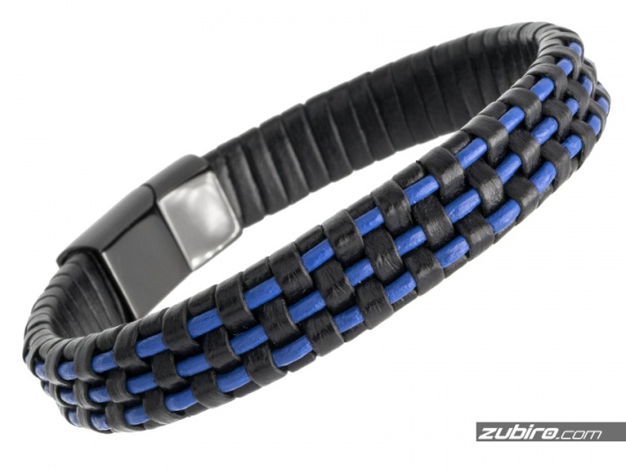 Niebiesko czarna bransoletka męska skórzana