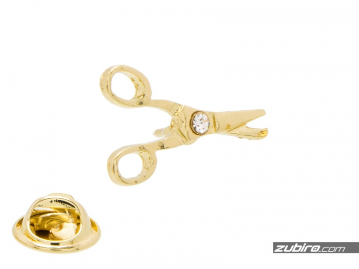 nożyczki pin cyrkonia prezent