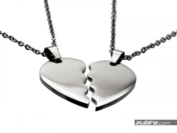 stalowe zawieszki serca połówki