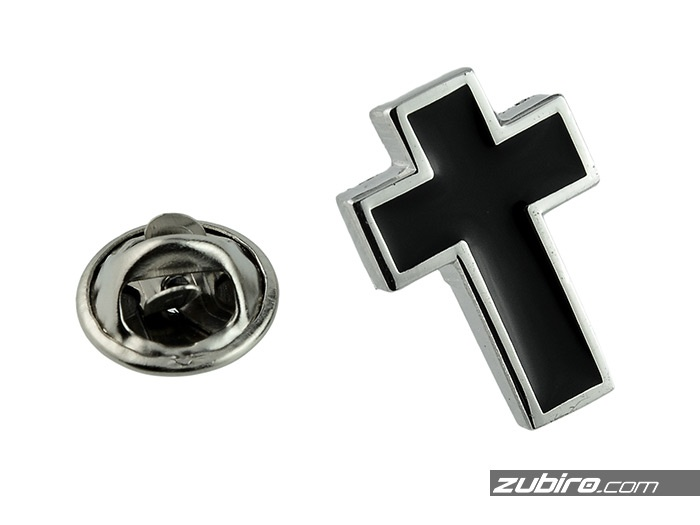Przypinka męska metalowa Krzyż