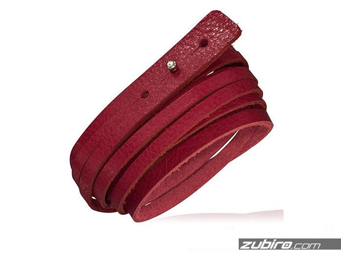 czerwona-skorzana-bransoletka