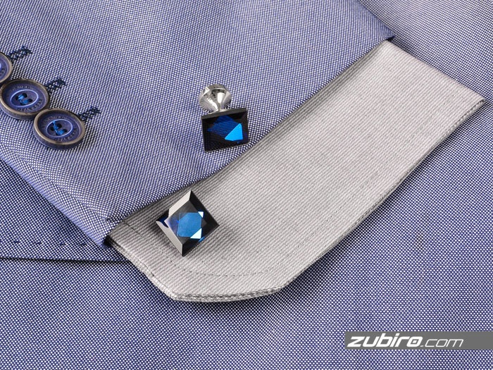 Spinki do mankietów niebieskie kryształy