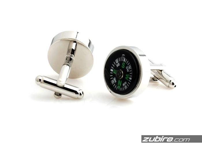 spinki do mankietów w kształcie kompasu