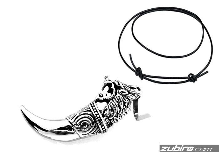 stalowy kieł ze smokiem męska biżuteria