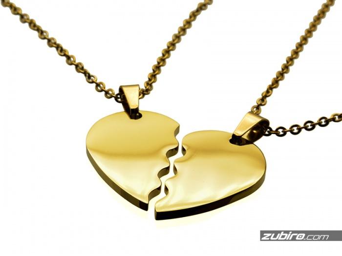 złote serca puzzle zawieszki dla pary