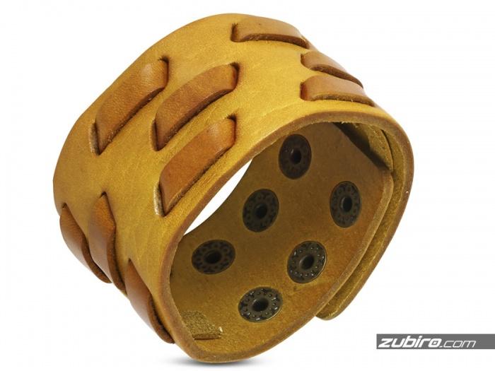 Żółta szeroka bransoletka ze skóry