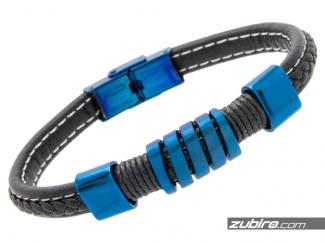 Bransoletka skórzana niebieska ze stali