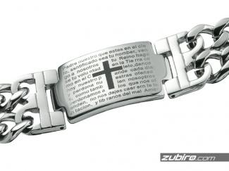 Bransoletka stalowa z modlitwą Ojcze Nasz