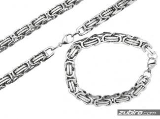 Cienki łańcuch i bransoleta ze stali krolewska