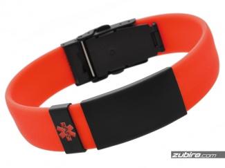 Czerwono czarna bransoletka medyczna męska GRAWER