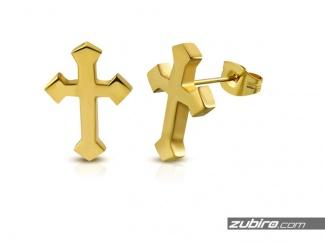 Kolczyki męskie złote krzyżyki