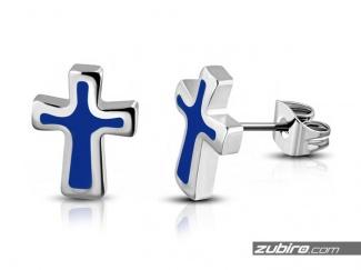 Kolczyki niebieskie krzyże