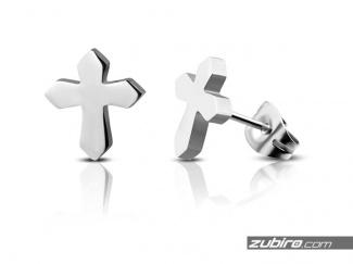 Kolczyki stalowe krzyżyki