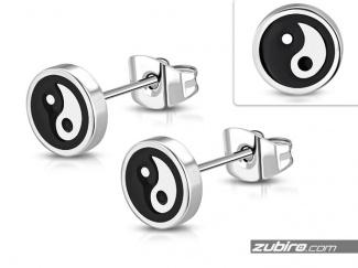 Kolczyki yin yang ze stali