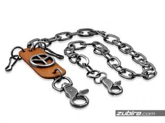 Łańcuch metalowy skórzany do spodni