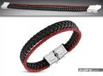 czarno-czerwona bransoletka z plecionych rzemyków