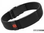 Medyczna bransoletka czarna z czerwonym znakiem medycznym