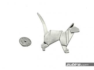 Przypinka do marynarki kot origami srebrny