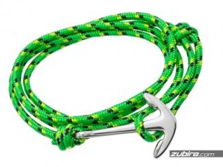 Zielona bransoletka męska z kotwicą